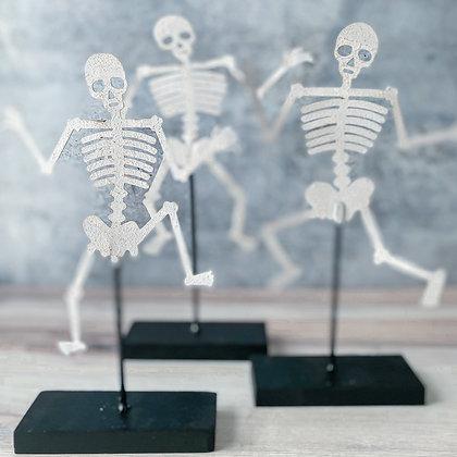 Dancing Skeleton on Wooden Base