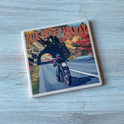 Blue Ridge Parkway Motorcycle Ceramic Coaster