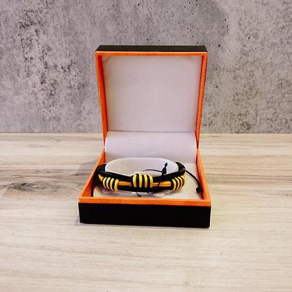 Leather Handmade Men's Bracelet - Yellow Ferrari