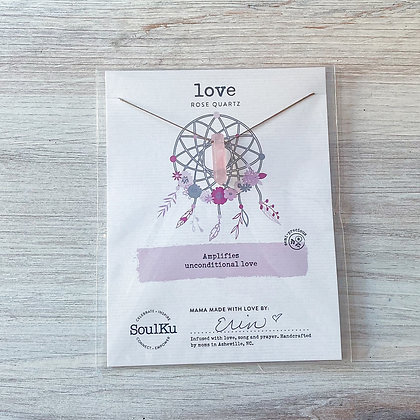 Rose Quartz Love Dream Catcher Necklace