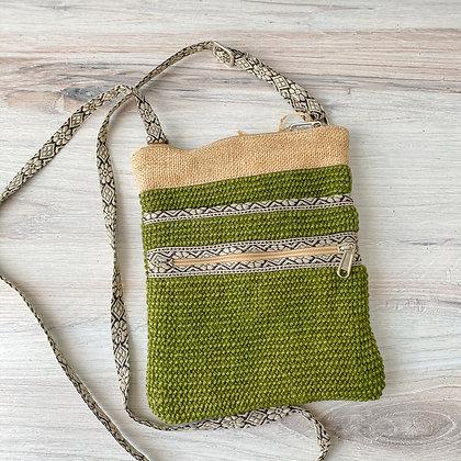 Olive Green Hipster Jute Sling Bag
