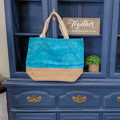 Light Blue Washed Canvas Tote w/Burlap Bottom