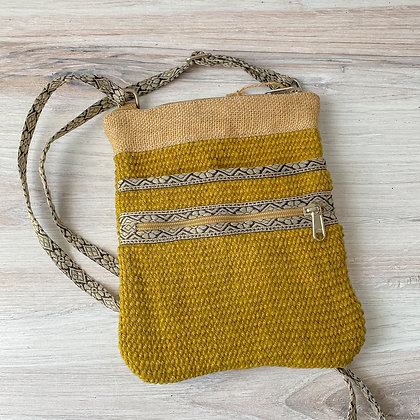 Yellow Hipster Jute Sling Bag
