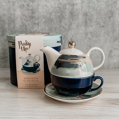 Addison Blue & Pink Abstract Tea For One Set