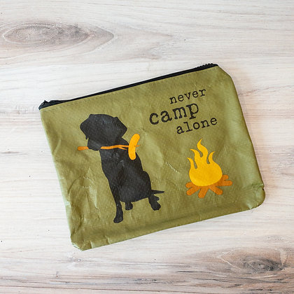 """Never Camp Alone"" Zipper Pouch"