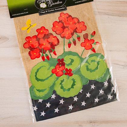 Garden Flag - Burlap Geraniums