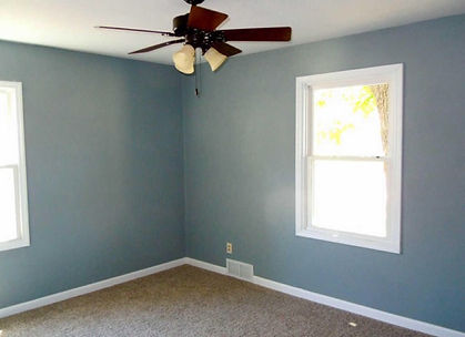 blue walls with ceiling fan and white paneled windows