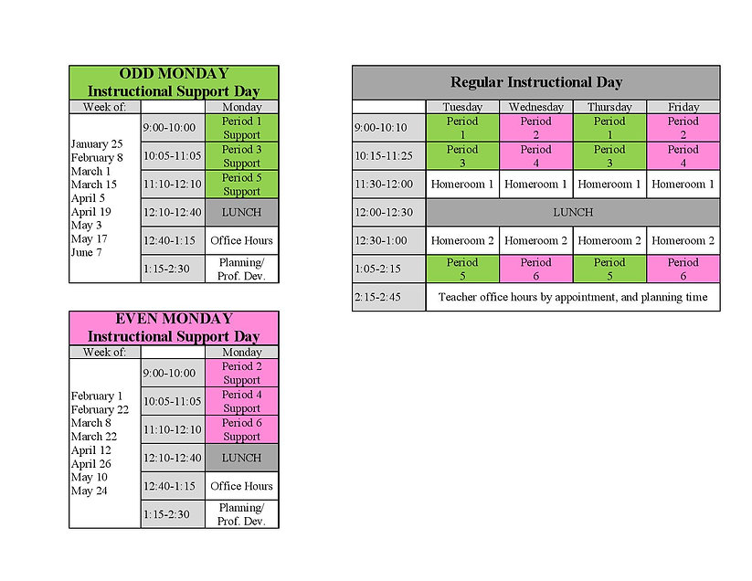 OFFICE HOURS DL Bell Schedule Spring 202