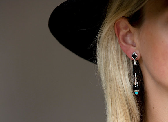 Art Deco Style Onyx, Turquoise & Diamond Earrings