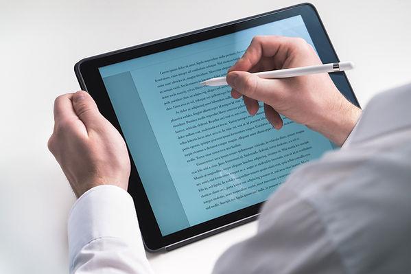 Al escribir sobre la tableta