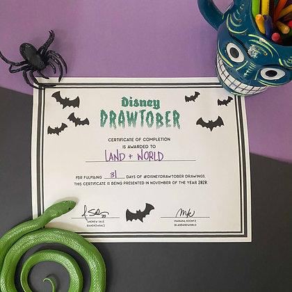 Disney Drawtober Certificate