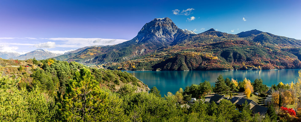Panoramic view of Serre-Poncon Lake with