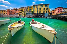 Peschiera del Garda colorful harbor and