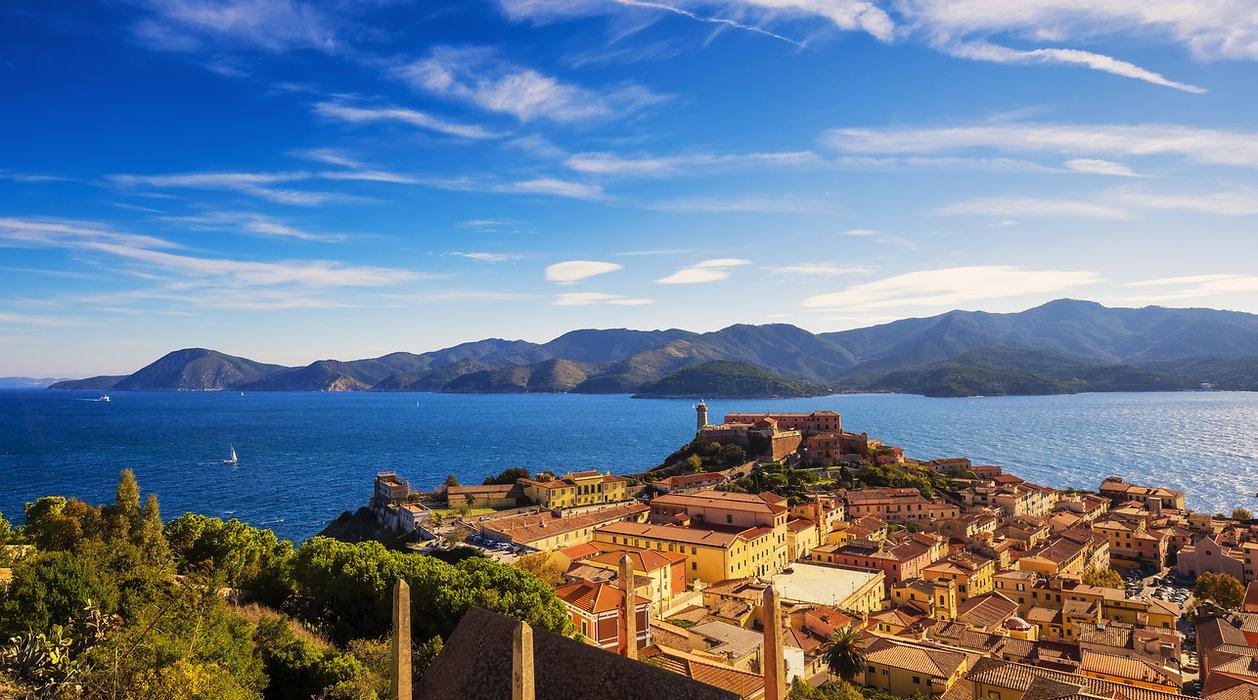 Elba island, Portoferraio aerial view. L