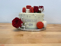 Red and White Cake with Macarons and Fre
