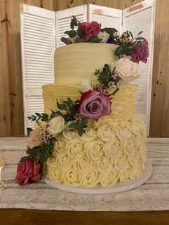 Wedding Cake with Purple and White Flora