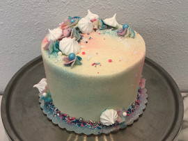 White Gender Reveal Cake with Glitter an
