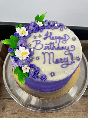 Purple and White Gum Paste Flower Cake.j