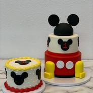 2 Tier Mickey Ears Cake with Matching Smash Cake
