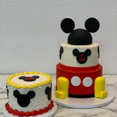 2 Tier Mickey Ears Cake with Matching Smash Cake