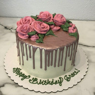 Rose Gold Metallic Drip Cake with Buttercream Flowers