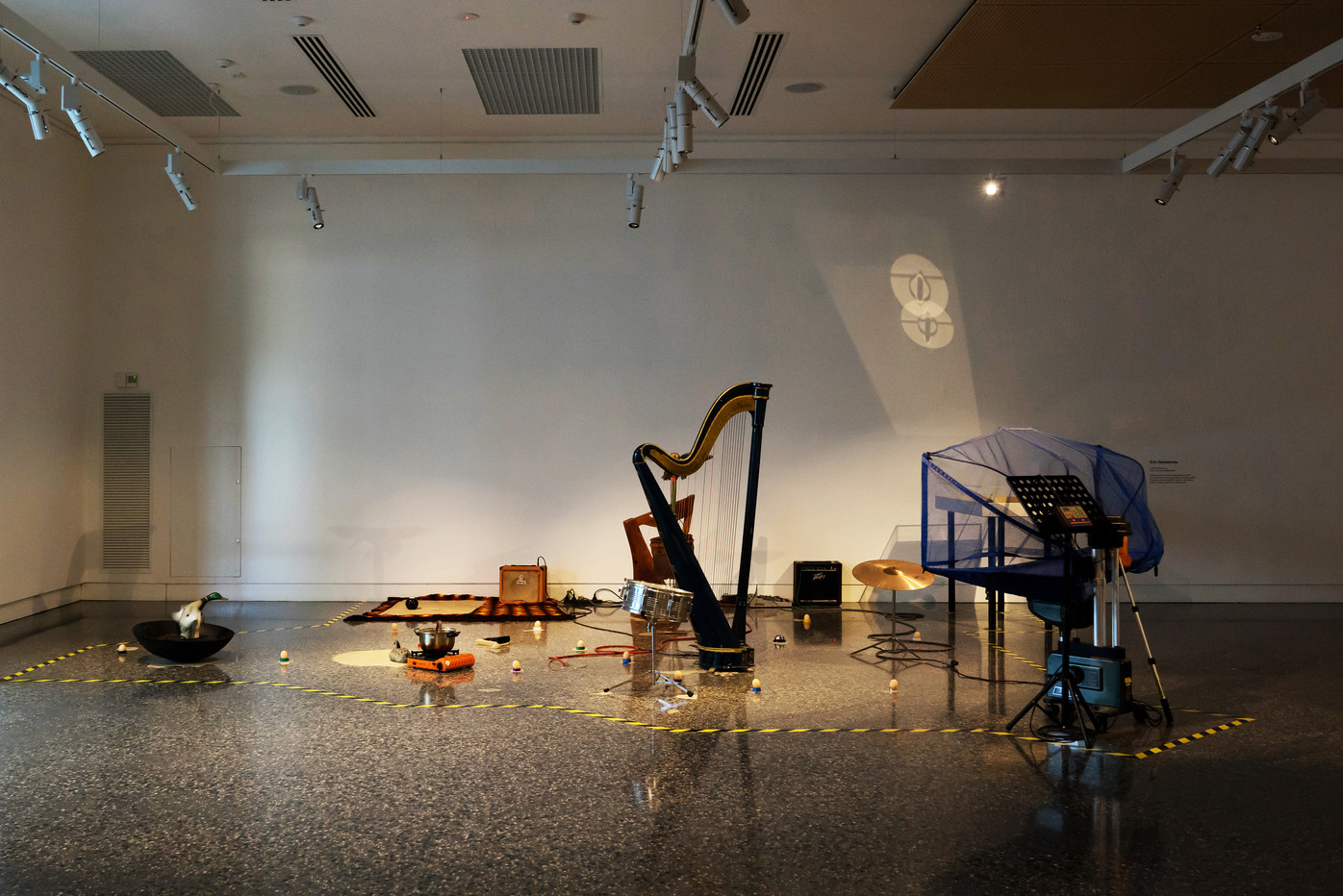"Herbie Jercher and the Gahan present 4'33"" in cat years & the lost wax stolen river band, 2018, installation view, Murray Art Museum Albury, Photo: Tyler Grace"