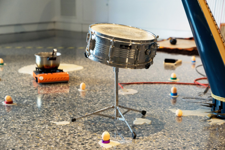 """Herbie Jercher and the Gahan present 4'33"""" in cat years & the lost wax stolen river band, 2018, installation view, Murray Art Museum Albury, Photo: Tyler Grace"""