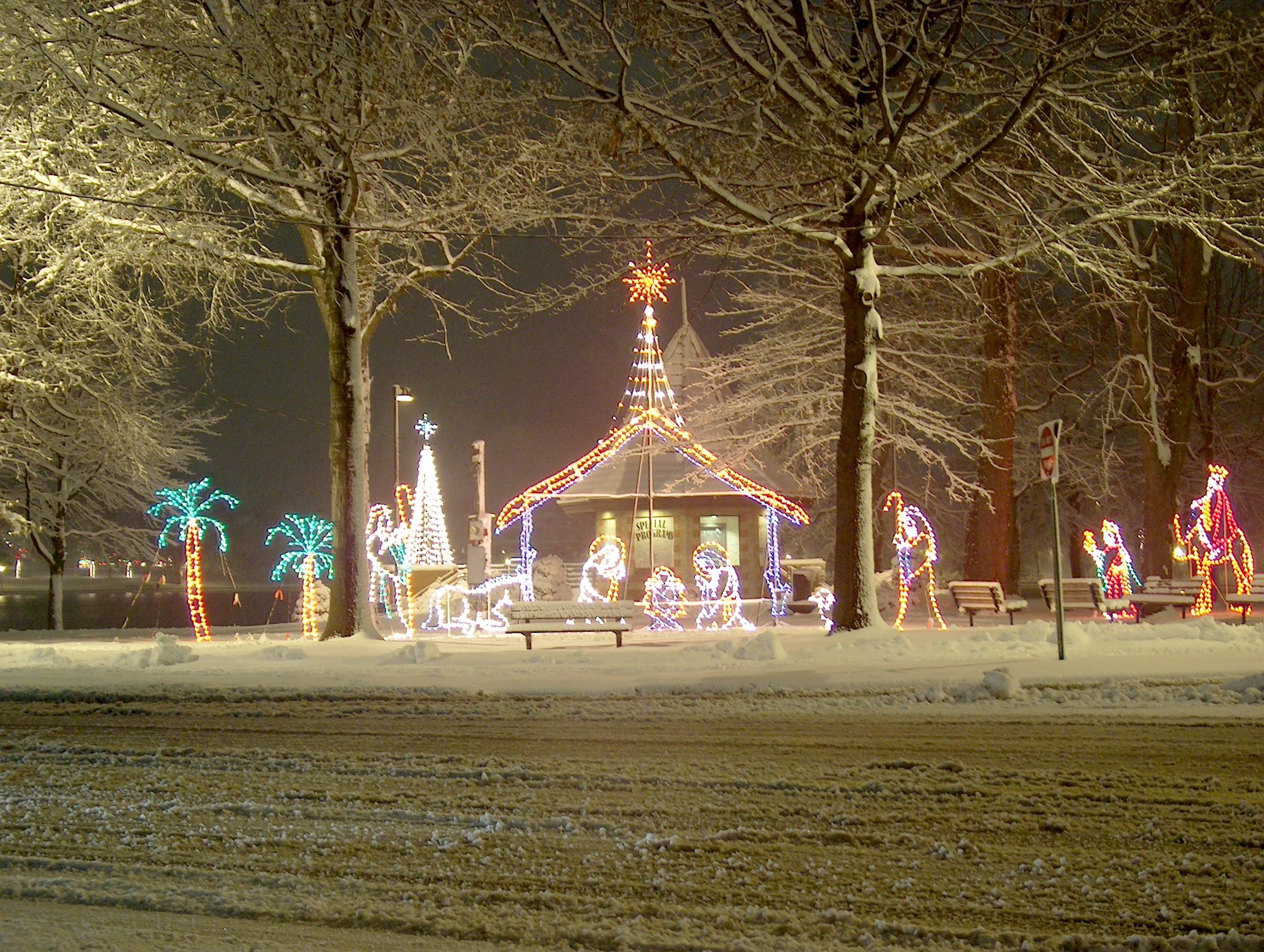 lights nativity scene