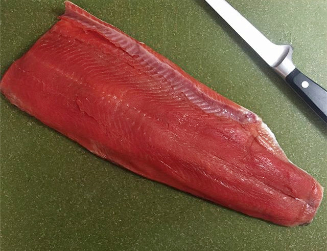 A red (sockeye) salmon fillet from our dipnetting excursion last summer