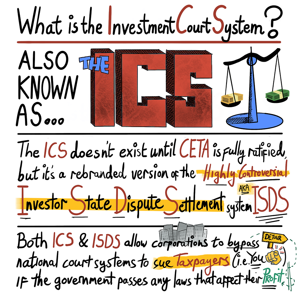 What is the Investment Court System? Also known as the ICS. The ICS doesnt exist until CETA is fully ratified but it's a rebranded version of the Highly Controversial Investor State Dispute Settlement system AKA ISDS. Both ICS and ISDS allow corporations to bypass national court systems to sue taxpayers (i.e., YOU) if the government passes any laws that affect their profit.