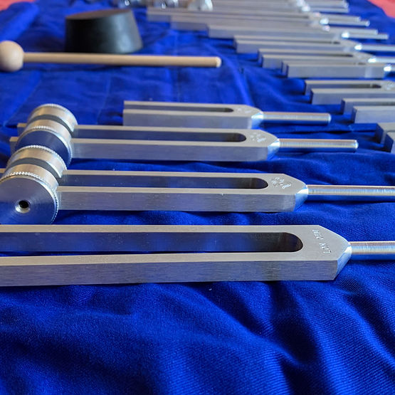 a set of tuning forks used in sound therapy
