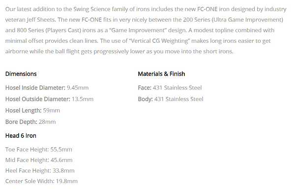 FC One Irons Info.PNG