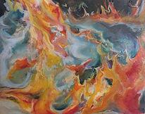 Feuer, 25x20cm, Kreide_Holzpa