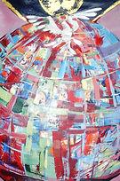 Pfingsten Weltfrieden, 50x70cm, Acryl Blattgold Papier, 2011
