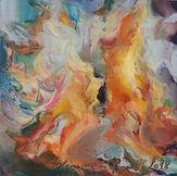Feuer, 15x15cm, Kreide Holzpaneel, 2018