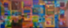 Zeitgeschichten_vernetzte Ebenen, 77x32cm, Öl Nessel, 2015