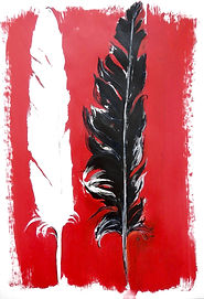 Federn sw, 50x70cm, Acryl Papier