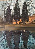 Nächtliche Spiegelung, 30x40 cm, Öl/Leinwand, 2019