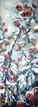 Winter Hagebutten im Schnee, 28x73cm, Öl Nessel, 1994