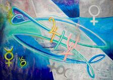 Fische, 70x50cm, gerahmt in 60x80 cm, Mischtechnik, 2015