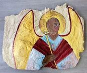 Felsmalereri Engel, einäugig, 75x56cm, Sand,Pigment, Pappe, Tempera, 2016