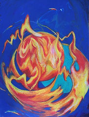 Feuer Mond, 36x47cm,Kreide/Papier,2017