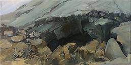 Höhleneingang Island, 30x15cm, Öl Leinwand, 2017