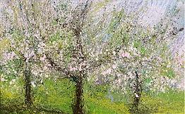 Frühling Blühende Bäume, 80x50cm, Alcydharz Leinwand, 2017