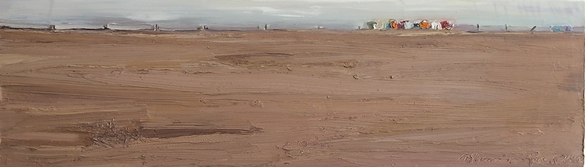 Sand Strandkörbe, 80 x25cm, Öl Nessel, 2000