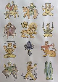 orientalischer Tierkreis, 70x100 cm, Tusche