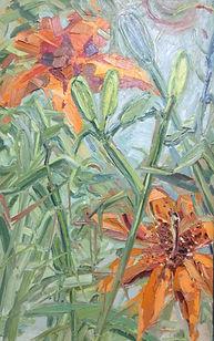 Sommer_Lilien, 80x50cm, Öl Nessel, 1994