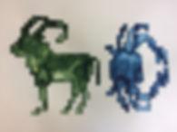 Steinbock und Krebs, 60x80cm,Tusche Papier, 2018