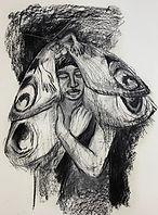 Schmetterlingsmann, 70x100 cm, Kohle/Papier, 2020