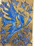 Winter4 Rauhnächte, 50x70cm, Tusche Goldpigment Papier, 2017